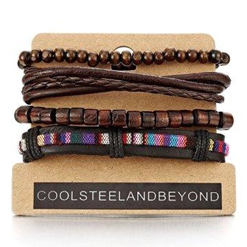 Mischen von 4 Braun Wickeln um Strap Armband Herren Damen, Multi-Strang Leder Perlen Holz, Ethnischen Stammes Baumwolle