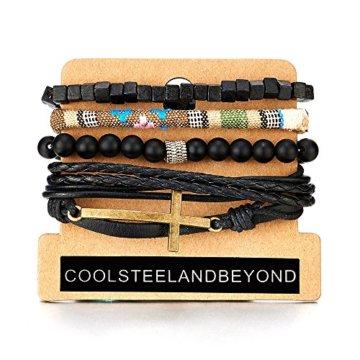 Mischen von 4 Kreuz Schwarz Wickeln um Strap Armband Herren Damen, Multi-Strang Perlen Holz Leder Baumwoll Seil Armband