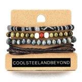 Mischen von 4 Wickeln um Strap Armband Herren Damen, Multi-Strang Braun Leder Perlen Holz, Ethnischen Stammes Baumwolle