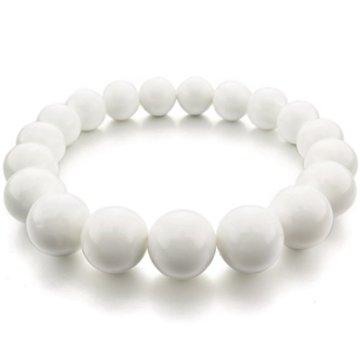 MunkiMix 10mm 12mm Energiearmband Energie armband Link Handgelenk EnergieStein Weiß Tridacna Buddha Gebet Mala Kugel Perle Perlen Elastisch
