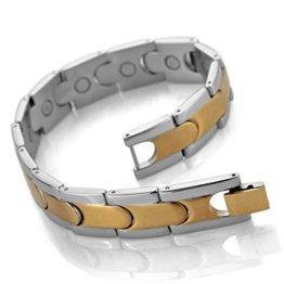 MunkiMix 3000g Magnet Kugel Perle Perlen Edelstahl Armband Hematit Silber Golden Zwei Ton Herren