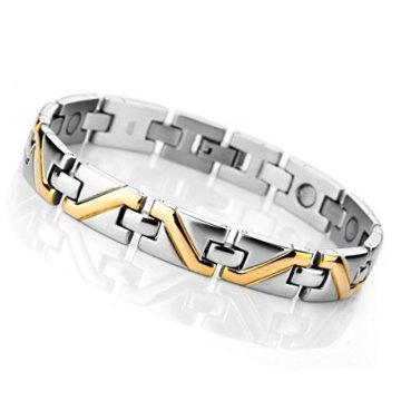 MunkiMix 3000g Magnet Kugel Perle Perlen Edelstahl Armband Hematit Silber Golden Zwei Ton Rechteckig Herren