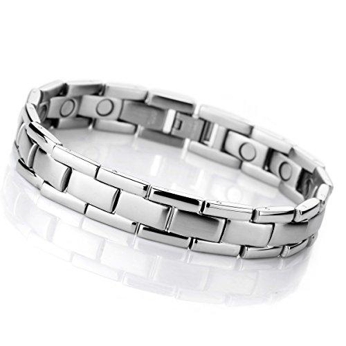 MunkiMix 3000g Magnet Kugel Perle Perlen Edelstahl Armband Hematit Silber Ton Herren