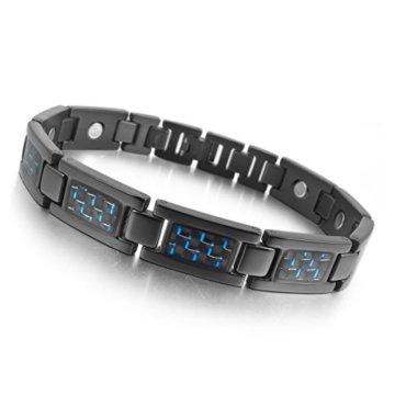 MunkiMix 3000g Magnet Kugel Perle Perlen Edelstahl Kohlenstoff Carbon Fiber Kohlefaser Armband Link Handgelenk Schwarz Herren