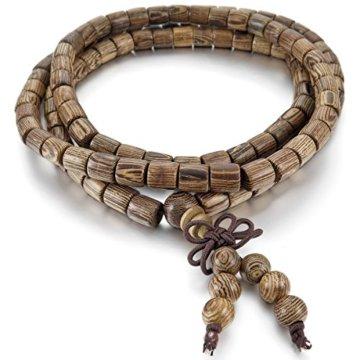 MunkiMix 6mm Holz Armband Link Handgelenk Halskette Tibetische Buddhist Buddhistischen Braun Kugel Perle Perlen Gebet Buddha Gebet Mala Chinesisch Knoten Dreiecksknoten Elastisch Herren,Damen
