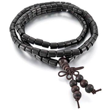 MunkiMix 6mm Holz Armband Link Handgelenk Halskette Tibetische Buddhist Buddhistischen Schwarz Kugel Perle Perlen Gebet Buddha Gebet Mala Chinesisch Knoten Dreiecksknoten Elastisch Herren,Damen