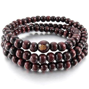 MunkiMix 6mm Holz Armband Link Handgelenk Halskette Tibetische Buddhist Buddhistischen Schwarz Rot Sandelholz Kugel Perle Perlen Gebet Buddha Gebet Mala Herren,Damen