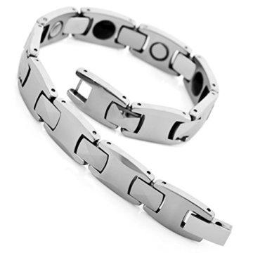 MunkiMix Magnet Kugel Perle Perlen Wolframcarbid Wolfram Armband Link Handgelenk Hematit Silber Ton Schwarz Herren