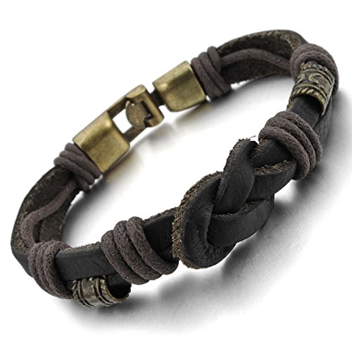 MunkiMix Metalllegierung Legierung Echtleder Armband Armreifen Seil Schwarz Golden Ton Tribal Stammes Herren