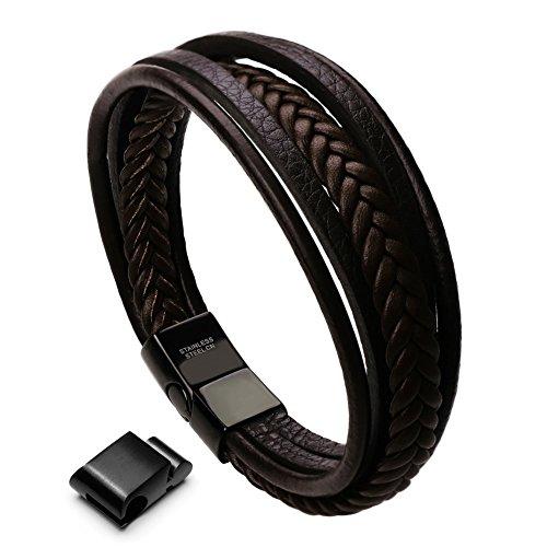 Murtoo Edelstahl Echtleder Armband schwarz braun geflochten mit Magnet Verschluss(22cm)