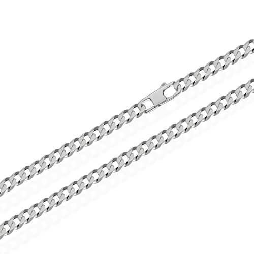 NKlaus echte 925er Sterlingsilber Panzerkette 6x diamantiert 4,00mm breit