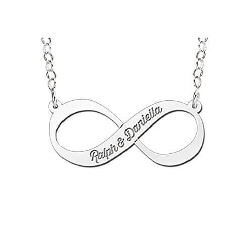 Namesforever Infinity-Unendlichkeit Namenskette aus Silber mit Gravur