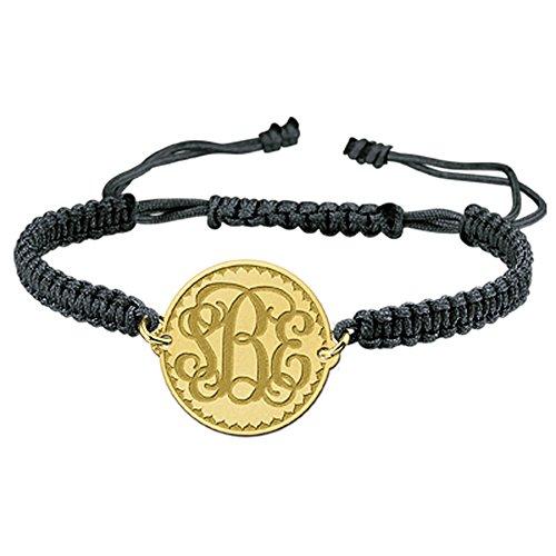 Namesforever Shamballa Armband Farbe Schwarz mit Anhänger aus 1 bis 3 Buchstaben-Monogramm Ihrer Wahl aus Gold