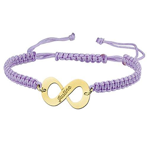 Namesforever Shamballa Infinity Armband Farbe Flieder mit Namens-Gravur aus Gold