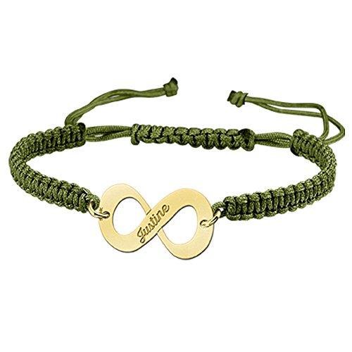 Namesforever Shamballa Infinity Armband Farbe Grün mit Namens-Gravur aus Gold