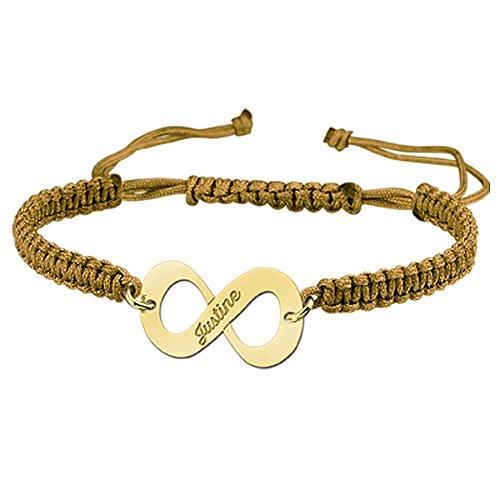 Namesforever Shamballa Infinity Armband Farbe Ocker mit Namens-Gravur aus Gold