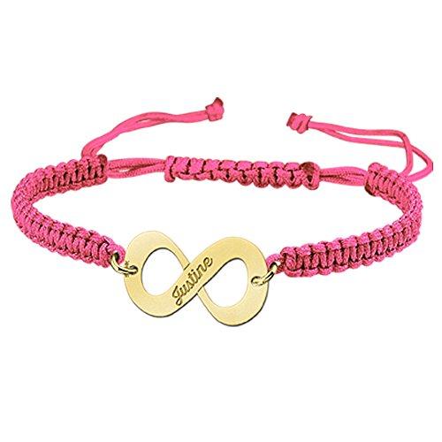 Namesforever Shamballa Infinity Armband Farbe Rosa mit Namens-Gravur aus Gold