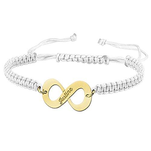 Namesforever Shamballa Infinity Armband Farbe Weiß mit Namens-Gravur aus Gold