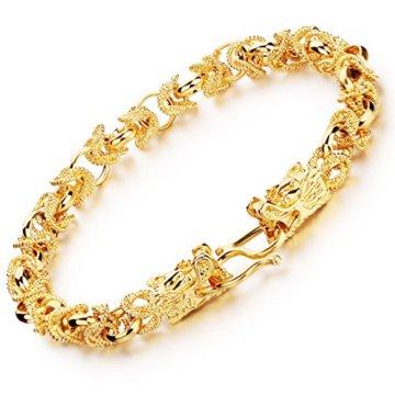 OPK Jewellery Leistungsstark Dragon Link Handgelenk Herren Schmuck Armband 18K Full vergoldet