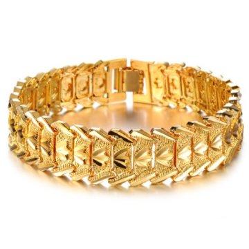 OPK Jewellry 18K vergoldetes Herren-Armband Cooles Ketten-Armband, tolles Hochzeits-Geschenk 21cm