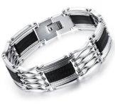 OSTAN – 316L Edelstahl Armbänder für Herren – Neue Mode Schmuck Armschmuck, Silber und Schwarz