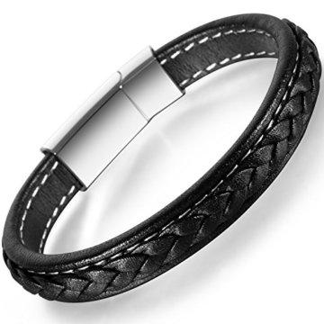 OSTAN – Gotik 316L Edelstahl und Leder Armbänder Armreifen Herren Armband – Neue Mode Schmuck Armschmuck, Schwarz