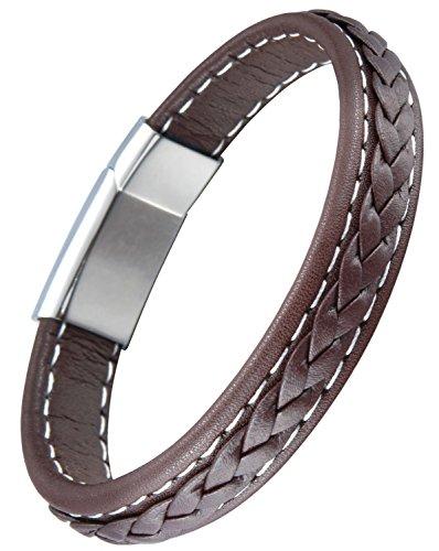 OSTAN – Gotik 316L Edelstahl und Leder Armband Armbänder fur Herren – Neue Mode Schmuck Armschmuck, Braun