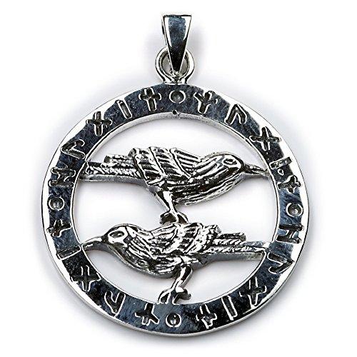 Odins Raben Schmuck Kette 925 Silber, Anhänger Länge mit Öse: 38mm