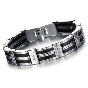 Oidea Herren Armband, Exquisit Schwarz Silber Streifen Kreuz Armreif Armschmuck Armkette Handgelenk, Edelstahl