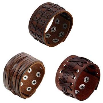 Oidea Herren Leder Armband Set (3PCS ), Punk Rock Stil 3.5cm-4.1cm Breite Große geflochtene handgefertigt Manschette Kordelkette Druckknopf Armreifen, Legierung, braun silber
