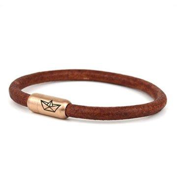 "Paper-Ship Armband ""Santos I"" – Naturbraunes Lederband mit Magnetverschluss"