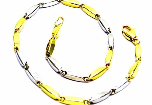 Pegaso Gioielli–Armband gold gelb weiß 18kt Segment zweifarbig Herren cm 21