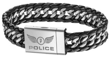 Police Herren Armband Edelstahl Leder ATTACK PJ25332BLB-01