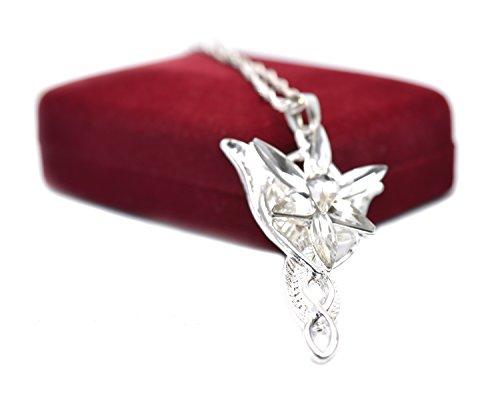 Rote Samt-Box Halskette mit Anhänger, Herr der Ringe Arwen Hobbit, Nachbildung