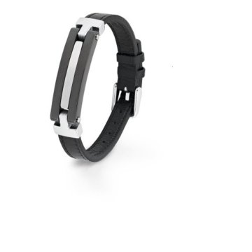 S. Oliver Herren-Armband Edelstahl Leder 40368