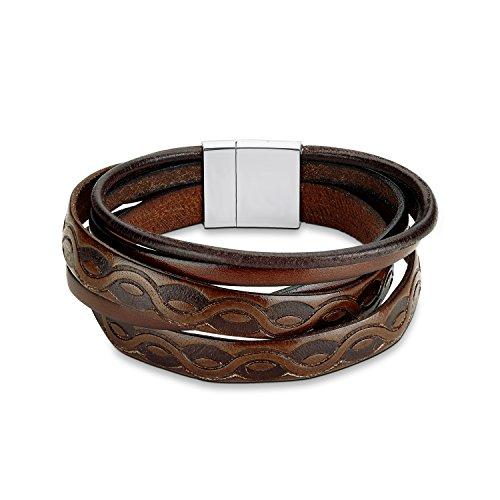 S.Oliver Herren-Armband Edelstahl Leder
