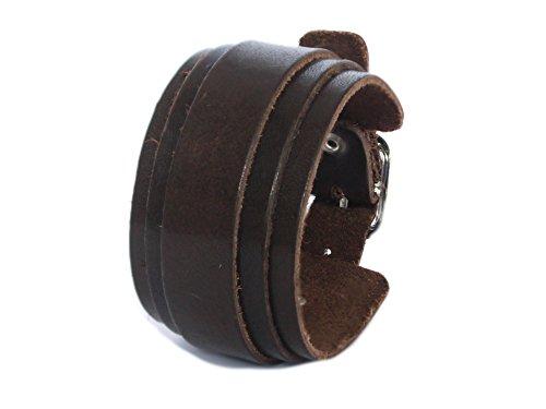 SIMARU Lederarmband Herren breit, Herren Armband aus hochwertigem Leder (pflanzliche Gerbung), Männer Armband in braun oder schwarz, Herrenschmuck Made in Germany