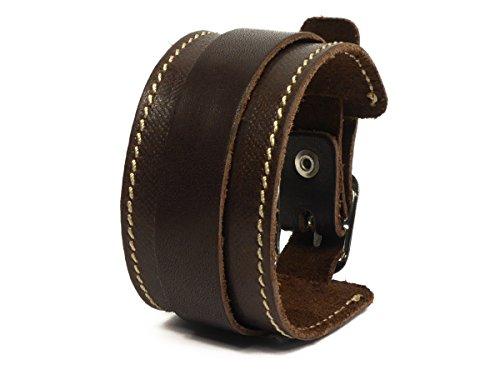 SIMARU Lederarmband Herren breit mit Naht, Leder Armband größenverstellbar, Männer Armband in schwarz oder braun, Herrenschmuck Mäde in Germany