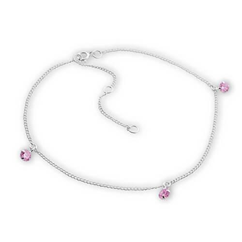 SL-Silver Fusskette Kette Kristallsteinen light pink 925 Silber