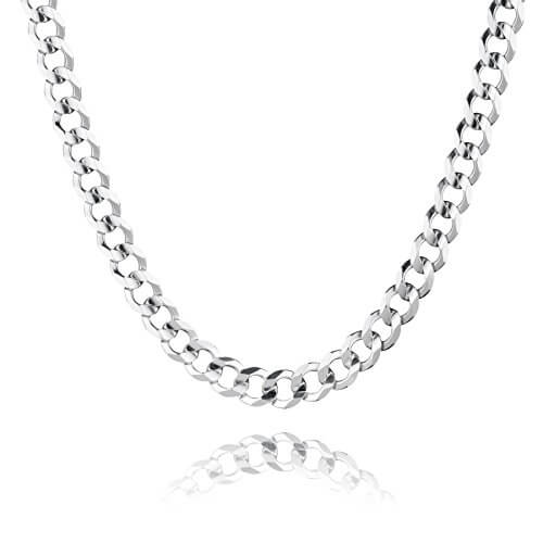 STERLL Herren-Kette aus massivem 925 Silber, ideal als Geschenk für Mann oder Freund, mit Schmuckbox