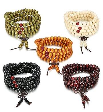 Sailimue 8mm 4-5Pcs Holz Perlen Armband für Männer Damen Armbänder Buddha Elastik