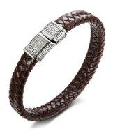 Sailimue Edelstahl Geflochten Leder Armband für Herren Damen Armbänder Seil Magnetverschluss 20.5-21.5CM