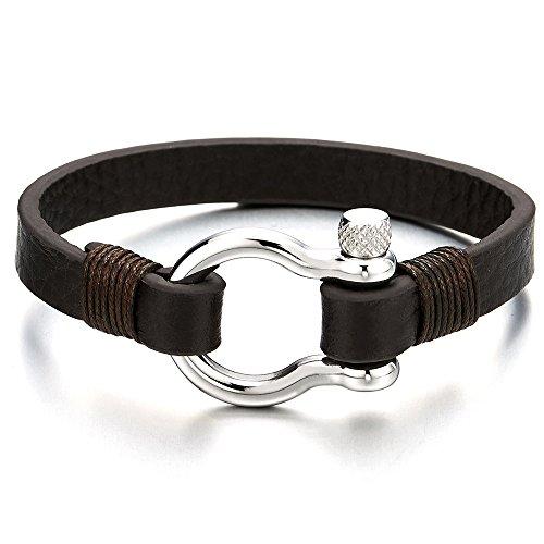 Schraube Anker Damen Herren Braun Leder Armband, Nautisch Matrose Wickeln Strap Schweissband