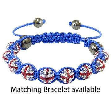 Shamballa – Unisex Makramee-Armband mit Union Jack-Design – Kristalle – Blau