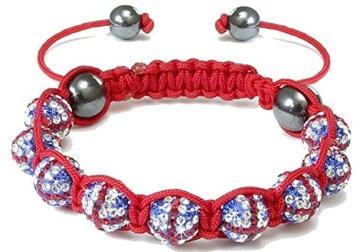 Shamballa – Unisex Makramee-Armband mit Union Jack-Design – Kristalle – Rot