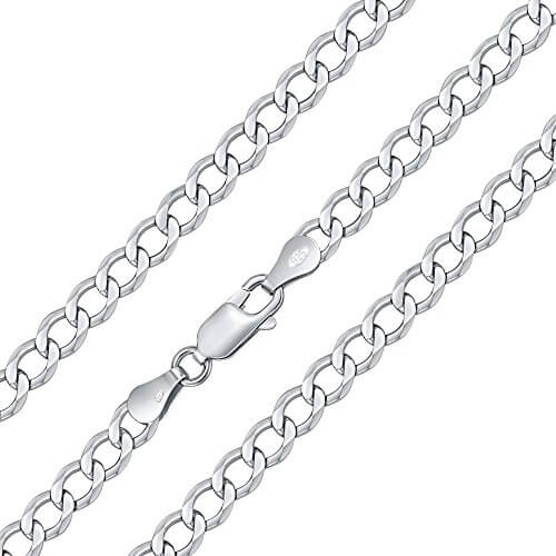 Silberkette Herren Panzerkette Sterling Silber 925 rhodiniert 5 mm