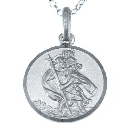 St. Christophorus Wende-Anhänger-Halskette aus Sterlingsilber, 46 cm / 16 mm Kette in Geschenkbox