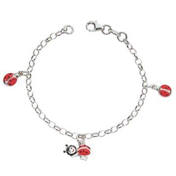Suzette et Benjamin Kinder – 3180690 Kinder-Armband Silber 925/1000 3,7 g Emaille 16 cm, Marienkäfer