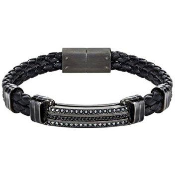 Swarovski Herren-Armband Express Braided Leder Kristall schwarz 20 cm – 5182035