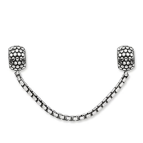 Thomas Sabo Unisex-Sicherheitskette Karma Beads 925 Sterling Silber geschwärzt Silikon KS0003-585-12